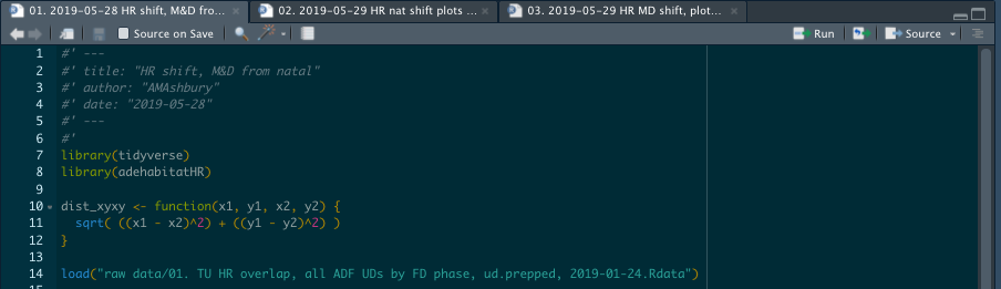"The start of a script in my 'HR shift' analysis project - note the loaded data path starts straight in with ""raw data/"" - referring to the subfolder within this project file (no need for a long, specific path in a setwd() function)."